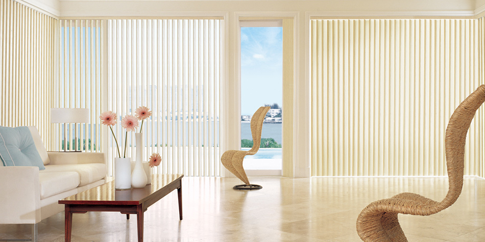 Add a contemporary edge to your modern design with stylish Vertical Blinds. Choose from a wide assortment of colors and patterns to complement any décor. Available with designer valances.  Click to get a free consultation.